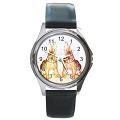 Rabbits  Round Metal Watch by Valentinaart