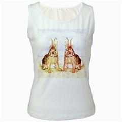 Rabbits  Women s White Tank Top by Valentinaart