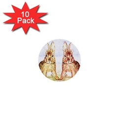Rabbits  1  Mini Buttons (10 Pack)  by Valentinaart