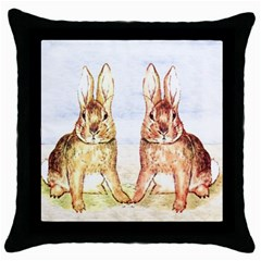 Rabbits  Throw Pillow Case (black) by Valentinaart