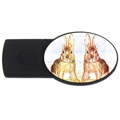 Rabbits  Usb Flash Drive Oval (4 Gb) by Valentinaart