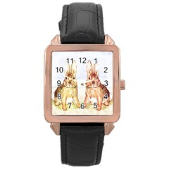 Rabbits  Rose Gold Leather Watch  by Valentinaart