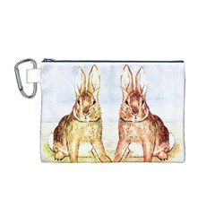 Rabbits  Canvas Cosmetic Bag (m) by Valentinaart