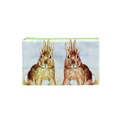 Rabbits  Cosmetic Bag (xs) by Valentinaart