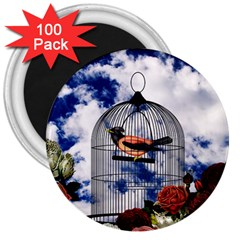 Vintage Bird In The Cage  3  Magnets (100 Pack) by Valentinaart