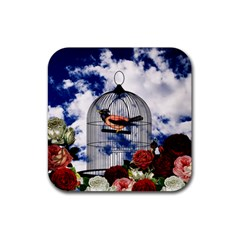 Vintage Bird In The Cage  Rubber Square Coaster (4 Pack)  by Valentinaart