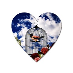 Vintage Bird In The Cage  Heart Magnet by Valentinaart