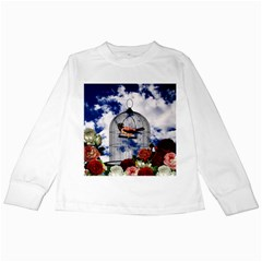 Vintage Bird In The Cage  Kids Long Sleeve T Shirts by Valentinaart