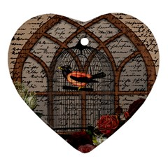 Vintage Bird In The Cage Ornament (heart) by Valentinaart