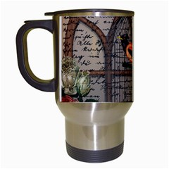 Vintage Bird In The Cage Travel Mugs (white) by Valentinaart