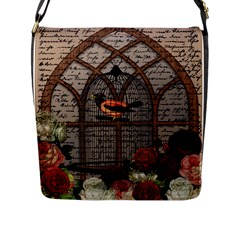 Vintage Bird In The Cage Flap Messenger Bag (l)  by Valentinaart