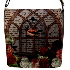 Vintage Bird In The Cage Flap Messenger Bag (s) by Valentinaart