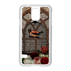 Vintage Bird In The Cage Samsung Galaxy S5 Case (white) by Valentinaart