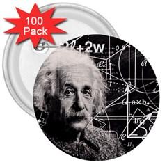 Albert Einstein 3  Buttons (100 Pack)  by Valentinaart