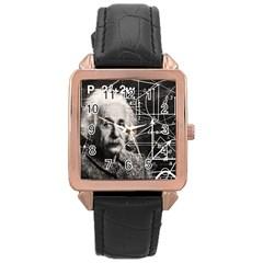 Albert Einstein Rose Gold Leather Watch  by Valentinaart