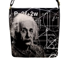 Albert Einstein Flap Messenger Bag (l)  by Valentinaart
