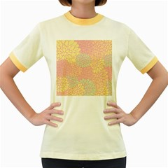 Floral Pattern Women s Fitted Ringer T Shirts by Valentinaart