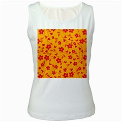 Floral Pattern Women s White Tank Top by Valentinaart