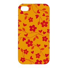 Floral Pattern Apple Iphone 4/4s Premium Hardshell Case by Valentinaart