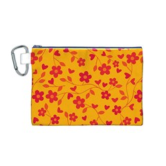 Floral Pattern Canvas Cosmetic Bag (m) by Valentinaart