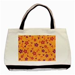 Floral Pattern Basic Tote Bag (two Sides) by Valentinaart