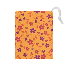 Floral Pattern Drawstring Pouches (large)  by Valentinaart