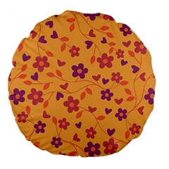 Floral Pattern Large 18  Premium Flano Round Cushions by Valentinaart