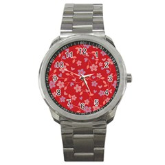Floral Pattern Sport Metal Watch by Valentinaart