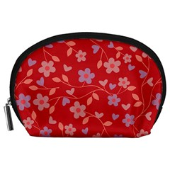 Floral Pattern Accessory Pouches (large)  by Valentinaart