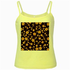 Floral Pattern Yellow Spaghetti Tank by Valentinaart