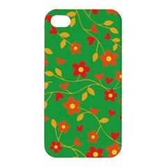 Floral Pattern Apple Iphone 4/4s Premium Hardshell Case by Valentinaart