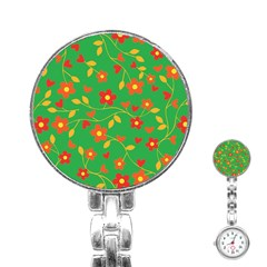 Floral Pattern Stainless Steel Nurses Watch by Valentinaart