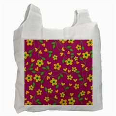 Floral Pattern Recycle Bag (two Side)  by Valentinaart