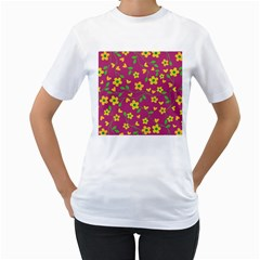 Floral Pattern Women s T Shirt (white)  by Valentinaart