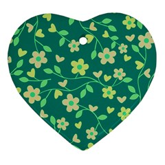 Floral Pattern Heart Ornament (two Sides) by Valentinaart