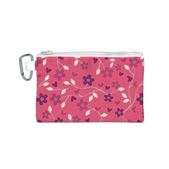Floral Pattern Canvas Cosmetic Bag (s) by Valentinaart