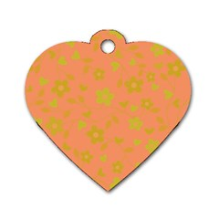 Floral Pattern Dog Tag Heart (one Side) by Valentinaart