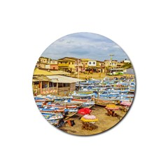 Engabao Beach At Guayas District Ecuador Rubber Round Coaster (4 Pack)  by dflcprints