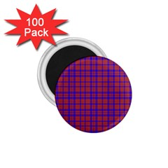 Pattern Plaid Geometric Red Blue 1 75  Magnets (100 Pack)  by Simbadda