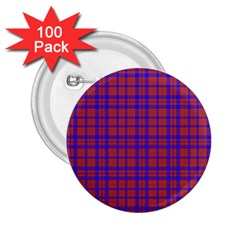 Pattern Plaid Geometric Red Blue 2 25  Buttons (100 Pack)  by Simbadda