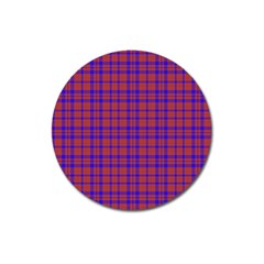 Pattern Plaid Geometric Red Blue Magnet 3  (round) by Simbadda