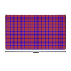 Pattern Plaid Geometric Red Blue Business Card Holders by Simbadda