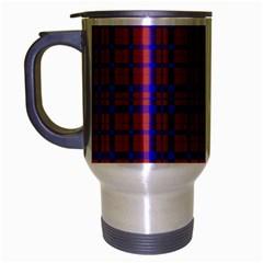 Pattern Plaid Geometric Red Blue Travel Mug (silver Gray) by Simbadda
