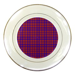 Pattern Plaid Geometric Red Blue Porcelain Plates by Simbadda
