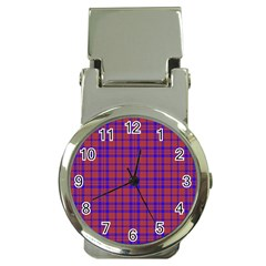 Pattern Plaid Geometric Red Blue Money Clip Watches by Simbadda