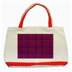 Pattern Plaid Geometric Red Blue Classic Tote Bag (red) by Simbadda