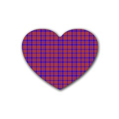 Pattern Plaid Geometric Red Blue Rubber Coaster (heart)  by Simbadda