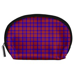 Pattern Plaid Geometric Red Blue Accessory Pouches (large)  by Simbadda