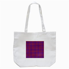 Pattern Plaid Geometric Red Blue Tote Bag (white) by Simbadda