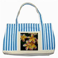 Premier Mix Flower Striped Blue Tote Bag by alohaA